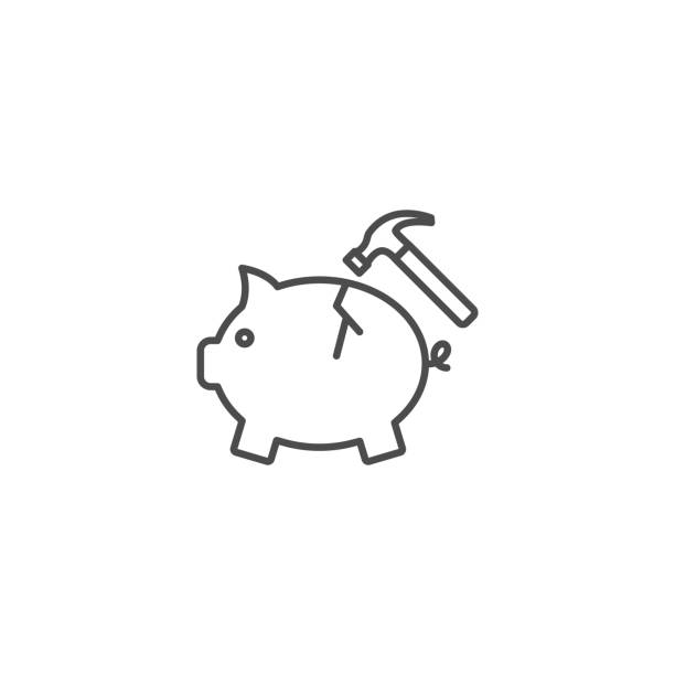 Hammer breaks a piggy bank vector icon Hammer breaks a piggy bank vector icon piggy bank stock illustrations