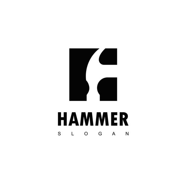 Hammer Icon Design Vector Hammer Logo For Construction, Maintenance And Home Repair carpenter stock illustrations