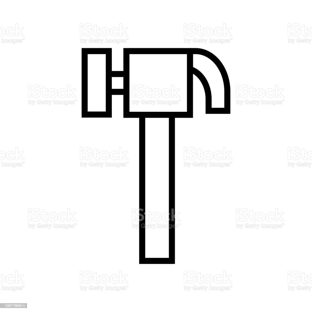 Hammer Icon Vector Icon Simple Element Illustration Hammer Symbol