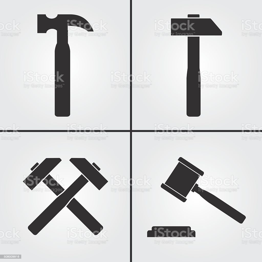 Hammer Icons vector art illustration