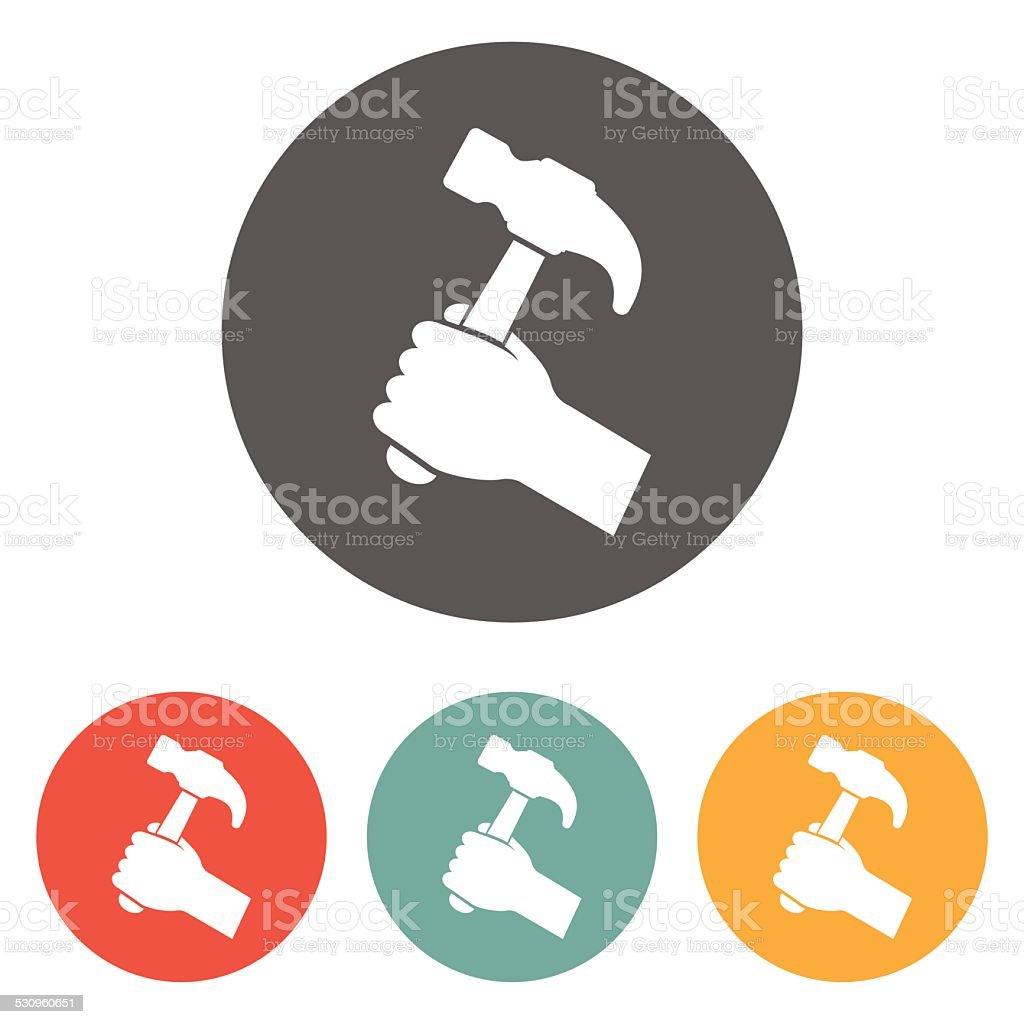 hammer in hand icon vector art illustration