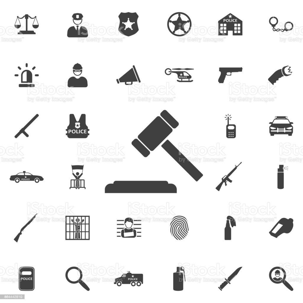 Hammer judge icon vector art illustration