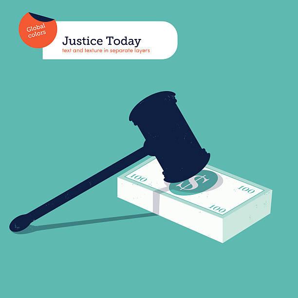 hammer of justice auf einem 100-dollar-haufen - geldstrafe stock-grafiken, -clipart, -cartoons und -symbole