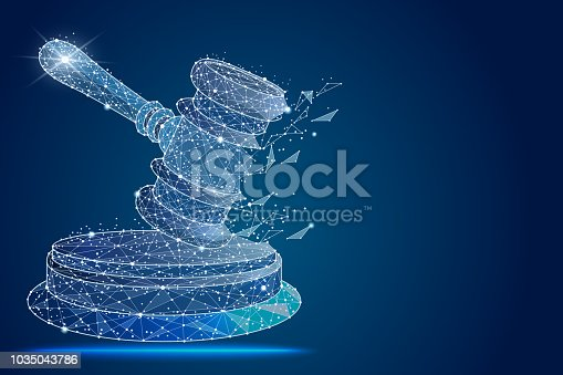 hammer of the judge, abstract design in the form of outer space and constellations. isolated from low poly wireframe,polygonal image. vector illustration