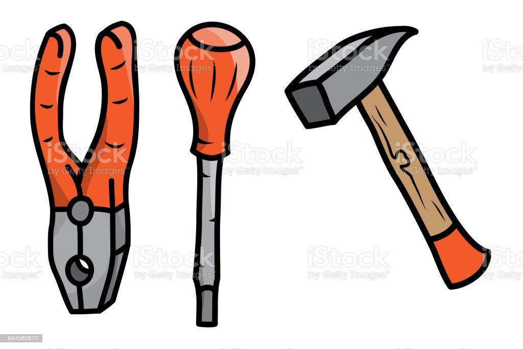 Hammer Zangen Und Schraubendreher Set Von Handwerkzeugen Im