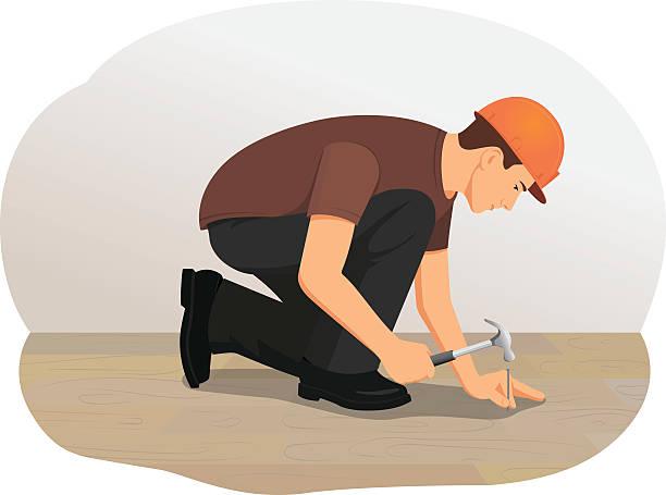 bildbanksillustrationer, clip art samt tecknat material och ikoner med hammer - construction workwear floor