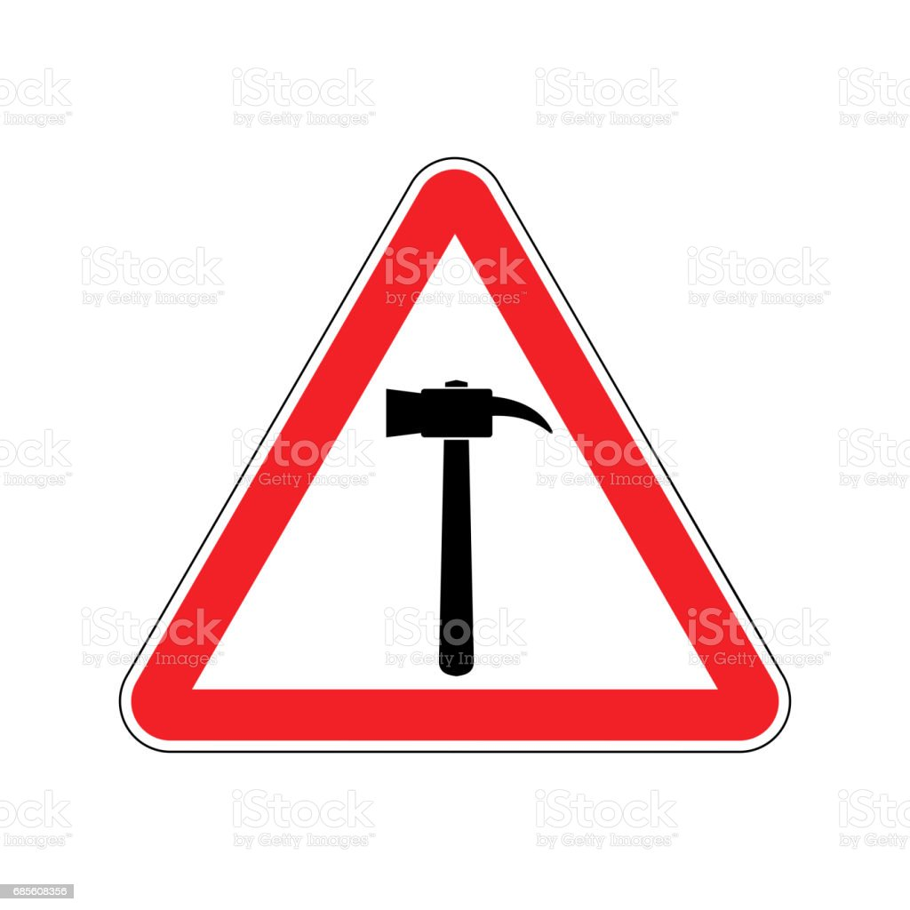 Hammer Warning sign red. Repair Hazard attention symbol. Danger road sign triangle pounding royalty-free hammer warning sign red repair hazard attention symbol danger road sign triangle pounding 강철에 대한 스톡 벡터 아트 및 기타 이미지