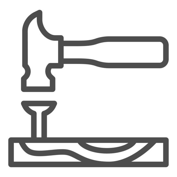 Hammer with nail in board line icon, house repair concept, carpentry tools sign on white background, hammer hitting a nail icon in outline style for mobile and web design. Vector graphics. Hammer with nail in board line icon, house repair concept, carpentry tools sign on white background, hammer hitting a nail icon in outline style for mobile and web design. Vector graphics nail work tool stock illustrations