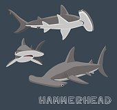 Hammerhead Shark Cartoon Vector Illustration