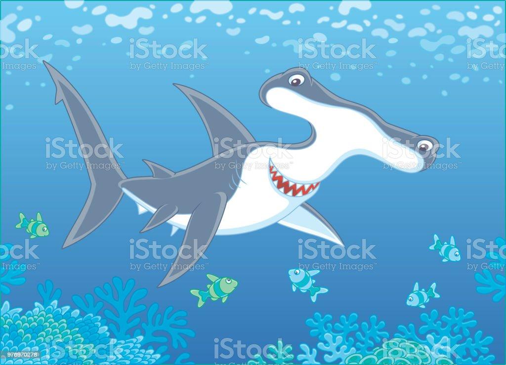 Ilustración de Tiburón Cabeza De Martillo Sobre Un Arrecife y más ...