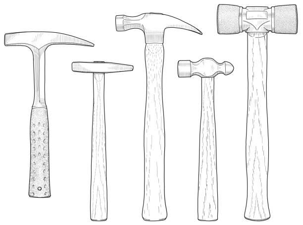 Hammers line drawing vector art illustration