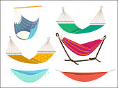 Hammock set. Comfort lifestyle outdoor bed rest place from fabric vector cartoon collection. Hammock swing relax, relaxation comfortable illustration