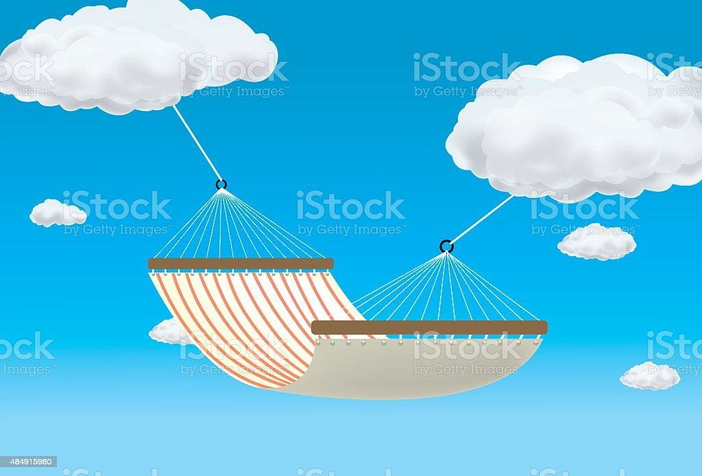 Hammock suspended between two clouds