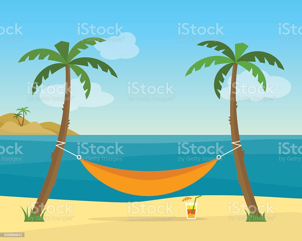 Hammock with palm trees on beach vector art illustration