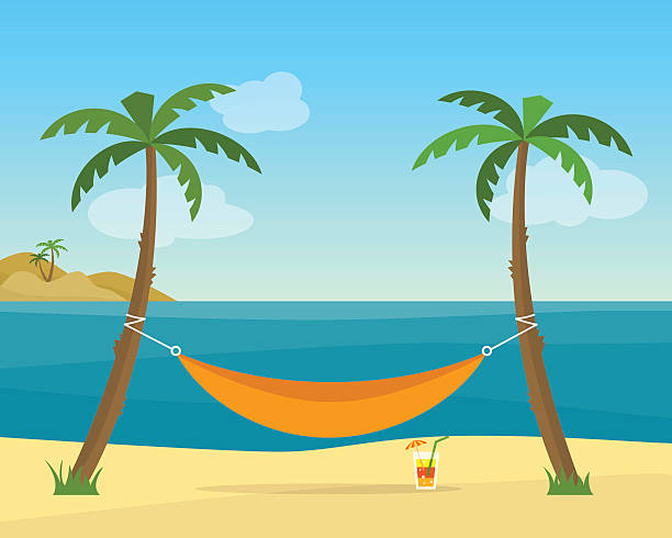 stockillustraties, clipart, cartoons en iconen met hammock with palm trees on beach - hangmat
