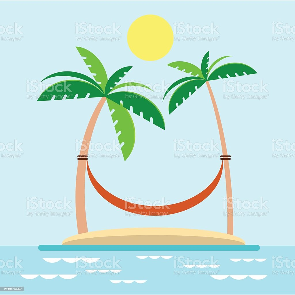 Hammock With Palm Trees On Beach Royalty Free