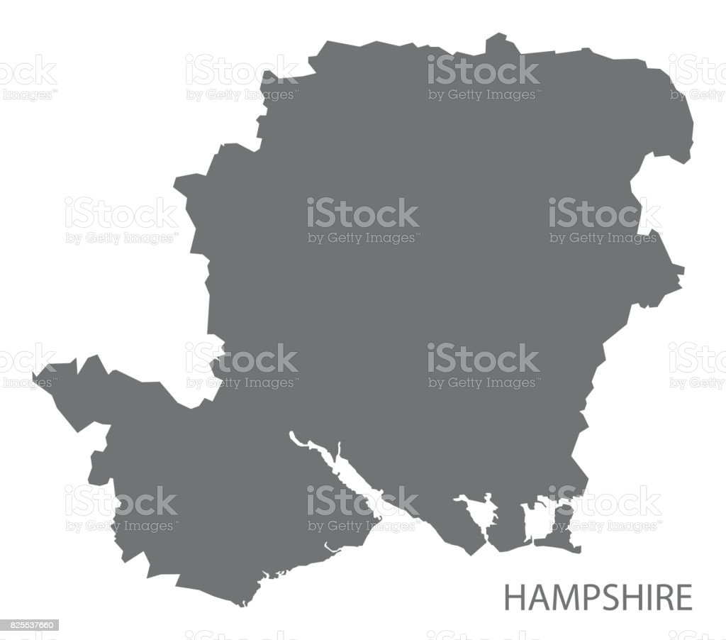 Carte Hampshire Angleterre.Carte Du Comte De Hampshire En Angleterre Grise Illustration