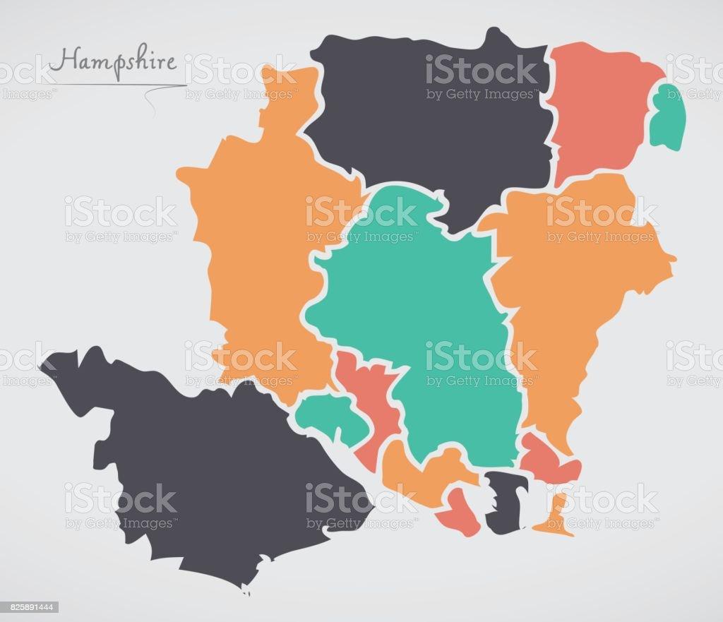 Carte Hampshire Angleterre.Carte Angleterre Hampshire Avec Les Etats Et Les Formes Rondes Modernes Vecteurs Libres De Droits Et Plus D Images Vectorielles De Angleterre