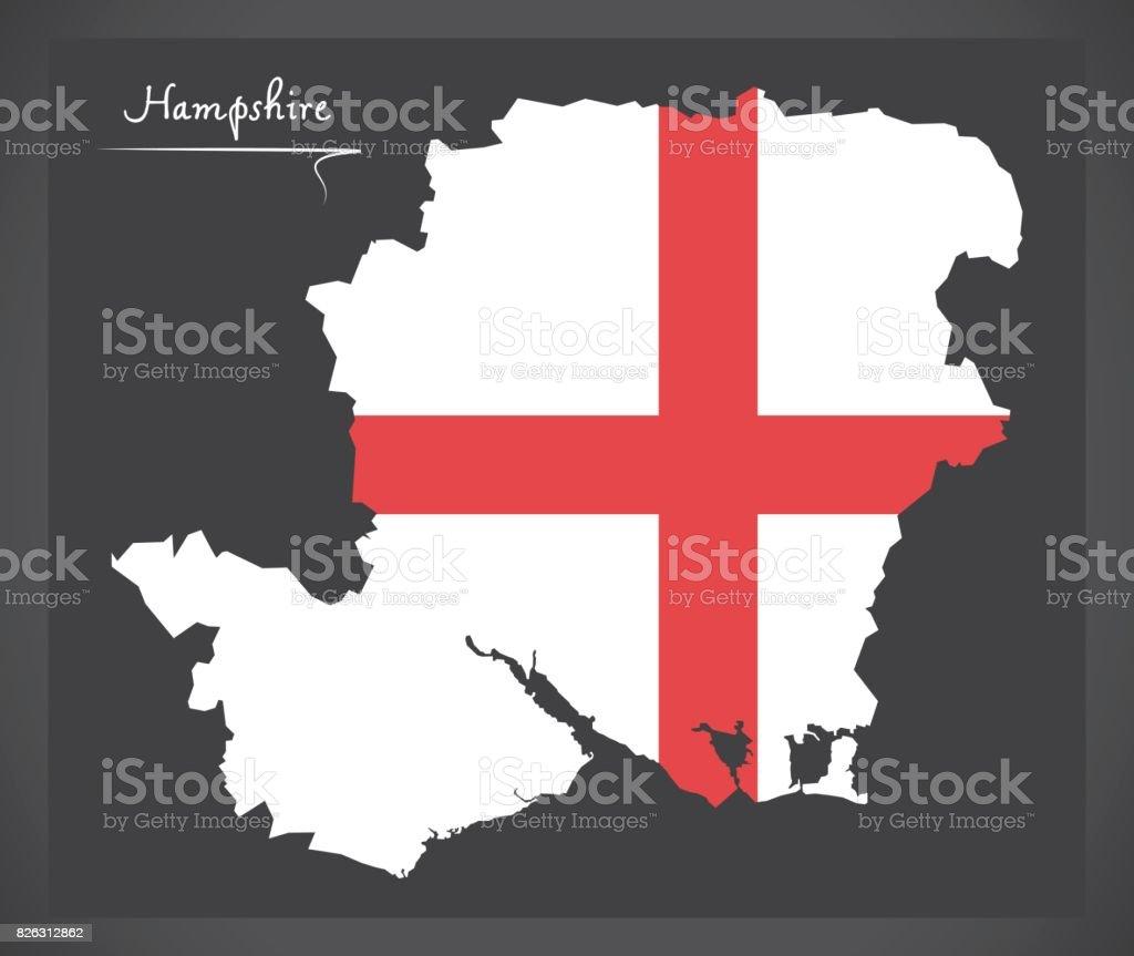 Hampshire map England UK with English national flag illustration vector art illustration