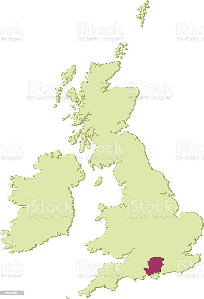 UK Hampshire map vector art illustration