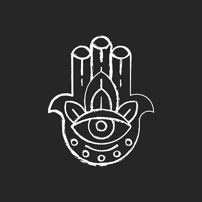 Hamsa Hand chalk white icon on black background