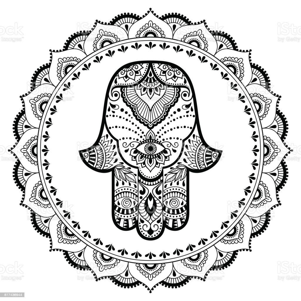 Hamsa Hand Drawn Symbol In Mandala Mehndi Style Decorative Pattern