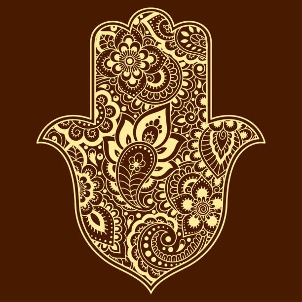"""stockillustraties, clipart, cartoons en iconen met hamsa hand getekende symbool met bloem. decoratief patroon in oosterse stijl voor interieur decoratie en henna tekeningen. het oude teken van """"hand van fatima"""". - hennatatoeage"""