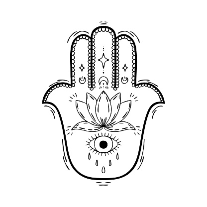 Hamsa hand drawn with a black line with decorative patterns. Illustration for tattoos, t-shirt prints, stickers, coloring books
