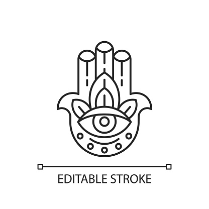 Hamsa Hand linear icon