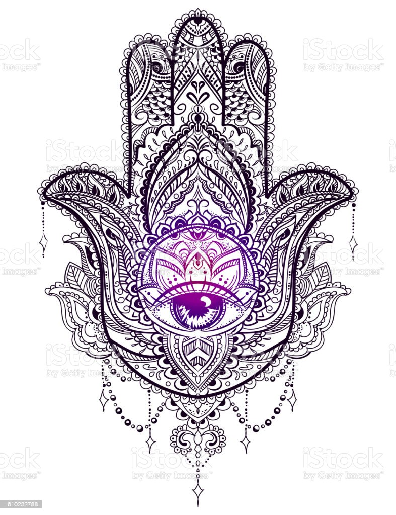 hamsa hand of fatima stock vector art more images of abstract 610232788 istock. Black Bedroom Furniture Sets. Home Design Ideas