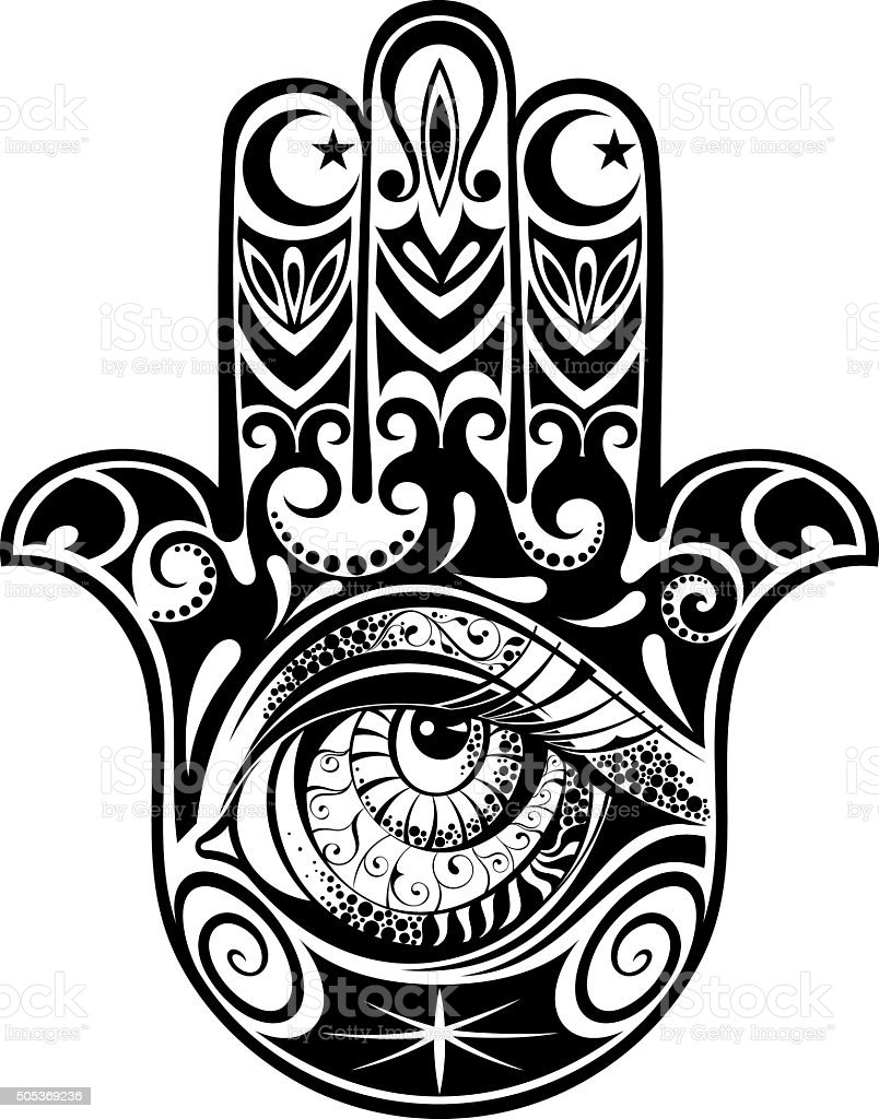 Hamsa Hand Of Fatima Vector Illustration Stock Vector Art Amp More Images Of Arabic Style