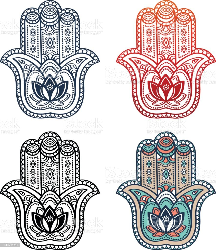 Hamsa Hand With Ethnic Ornament And Tribal Style Symbol With Indian