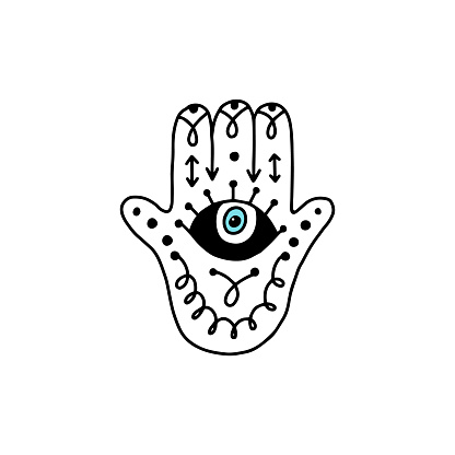 Hamsa hand with eye and mystic runes - doodle drawing