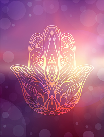Hamsa with tribal pattern on blurred ocean and sunset background. Buddha hand. Calmness and pacification. Vector element