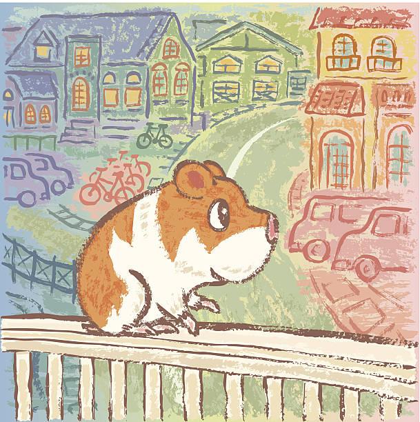hamster auf zaun - hamsterhaus stock-grafiken, -clipart, -cartoons und -symbole