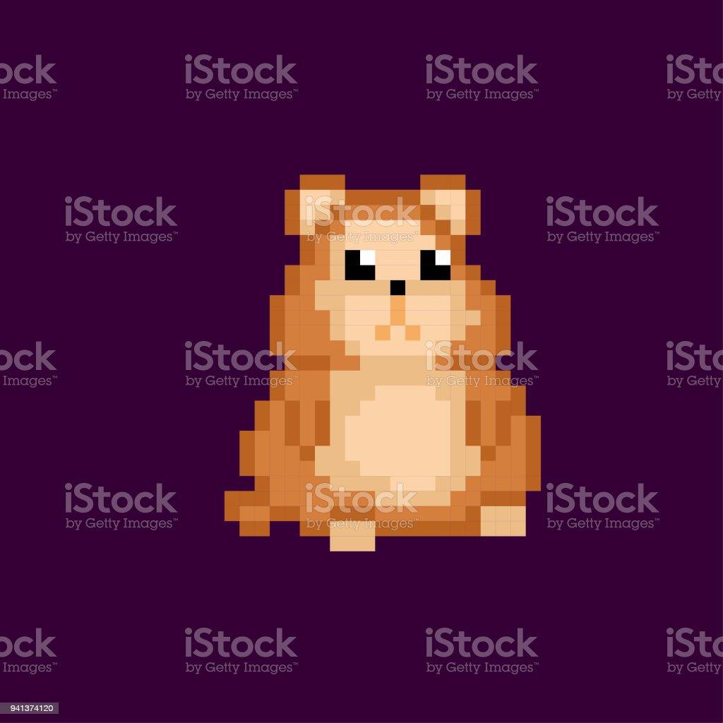 hamster pixel icon. Pixel art. Old school computer graphic. 8 bit...