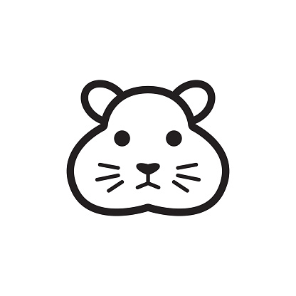Hamster web icon. Vector isolated cute rodent head pictogram on white background