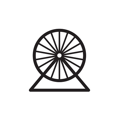 Hamster wheel icon. Black outline isolated pictogram