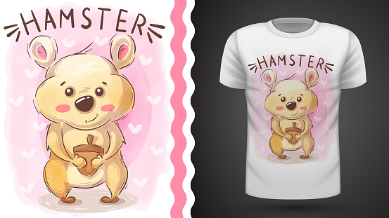 Hamster with nut - idea for print t-shirt