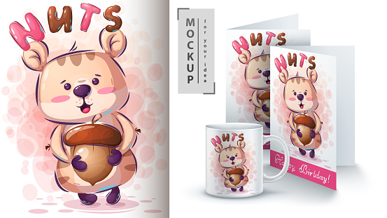 Hamster with nuts poster and merchandising