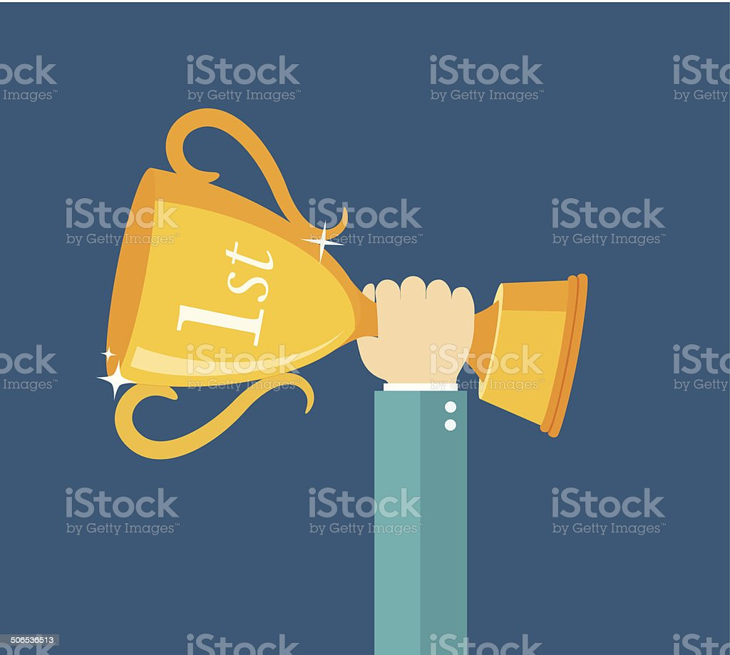 Han holding winner's trophy award flat illustration vector art illustration