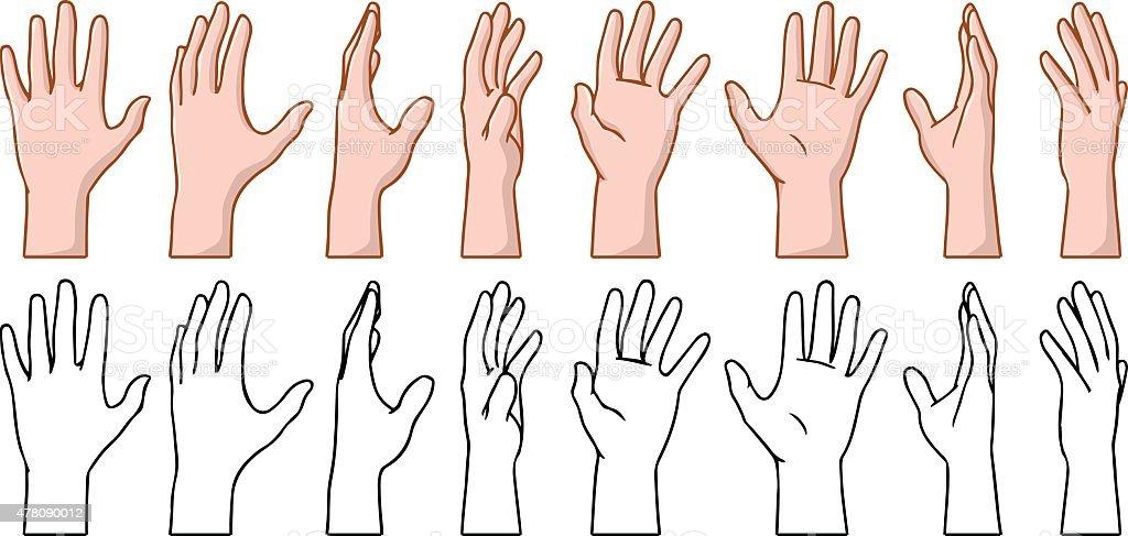 Hand 360 Turn Around Rotation View vector art illustration
