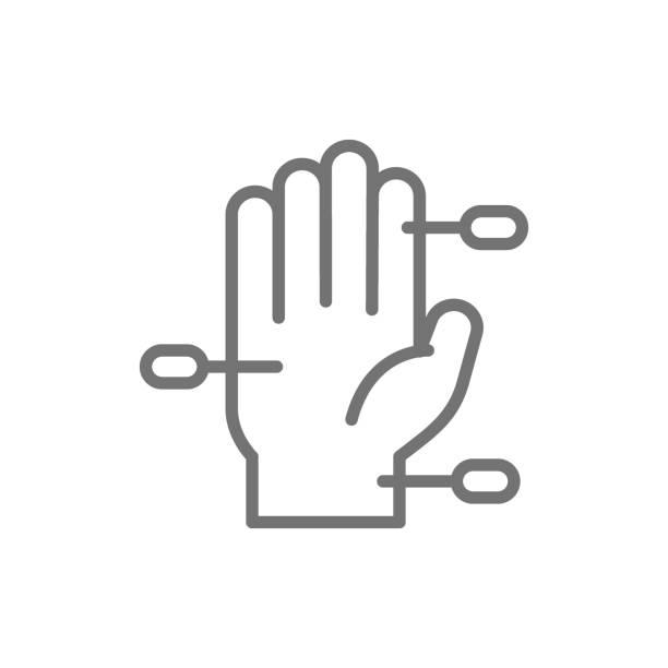 bildbanksillustrationer, clip art samt tecknat material och ikoner med hand akupunktur linje ikon. isolerad på vit bakgrund - acupuncture