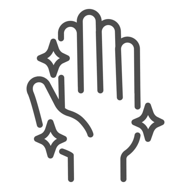 Hand after washing free from bacteria or virus line icon. Clean shiny hands symbol, outline style pictogram on white background. Coronavirus prevention sign mobile and web design. Vector graphics. Hand after washing free from bacteria or virus line icon. Clean shiny hands symbol, outline style pictogram on white background. Coronavirus prevention sign mobile and web design. Vector graphics human body part stock illustrations
