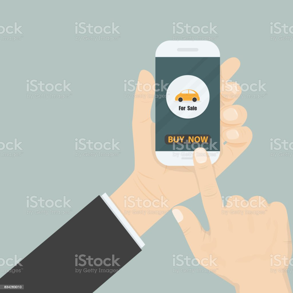 Hand and a car icon on smart phone.Businessman hand and online shopping website on smart phone.Online shopping application on smart phone.Advertising campaign symbol.Online shopping and e-commerce icon concept . vector art illustration