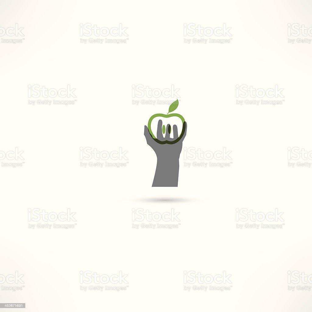 hand und apple icons – Vektorgrafik