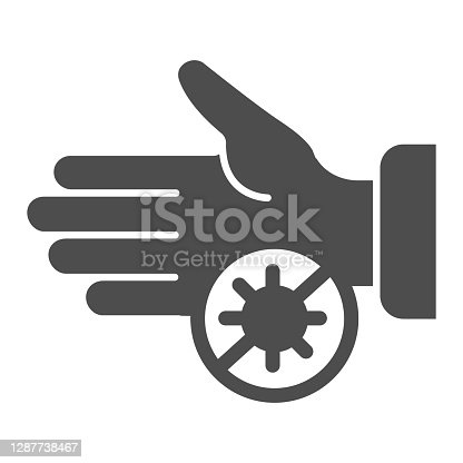 istock Hand and ban virus solid icon, Hygiene routine concept, prevention of coronavirus disease sign on white background, dangerous infection on hands icon in glyph style. Vector graphics. 1287738467