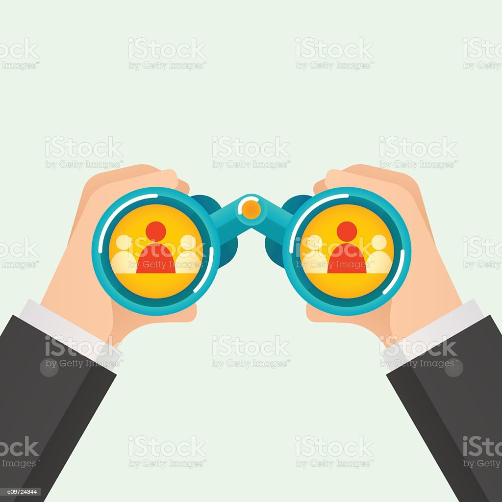 Hand and Binocular, Recruitment concept. vector art illustration