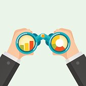Hand and Binocular, Business vision concept. Vector illustration