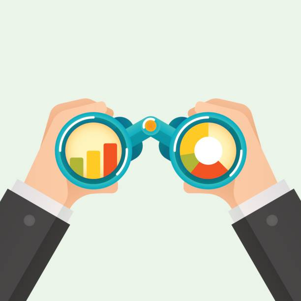 Hand and Binocular Hand and Binocular, Business vision concept. Vector illustration binoculars stock illustrations